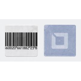 Деактивируемые радиочастотные противокражные антикражные этикетки(8,2 МГц, размеры 40х40 мм, штрих-код, в рулоне 1000 шт.)